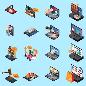 Isometrische ikonensammlung des beweglichen einkaufse-commerce-konzeptes mit den lebensmittelkleidungselektronik-onlineverkäufen lokalisiert