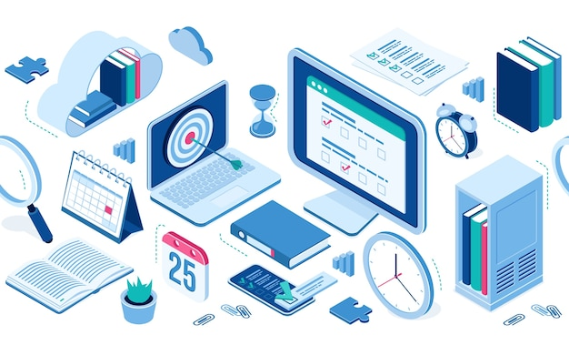 Isometrische ikonenwolke mit büchern, computer und smartphone