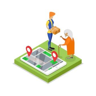 Isometrische illustration 3d der lieferungslogistik