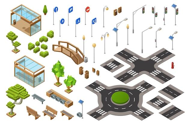Isometrische illustration 3d der stadtverkehrsstraße der ampel, transportrichtzeichen.