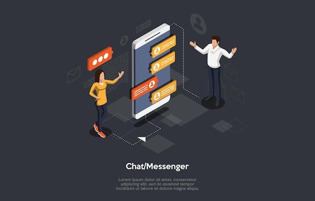 Isometrische illustration cartoon 3d-stil design mit elementen und menschen. chat messenger programm app auf dem bildschirm des smartphones