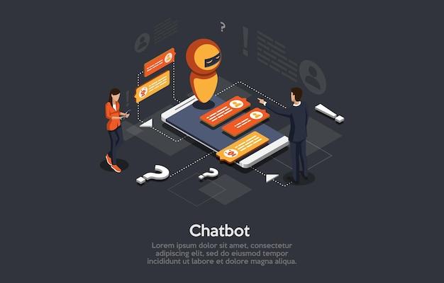Isometrische illustration cartoon 3d-stil design mit elementen und menschen modern. automatisches chatbot-antwortprogramm