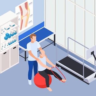 Isometrische illustration der arztpraxis der rehabilitationsklinik