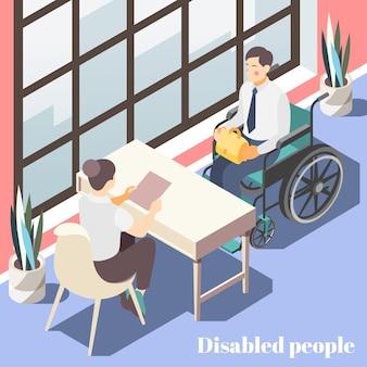 Isometrische illustration der behinderten leute mit weiblichem manager, der mit männlicher person im rollstuhl im büroinnenraum spricht