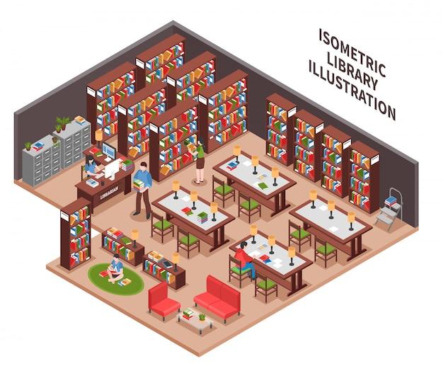 Isometrische illustration der bibliothek