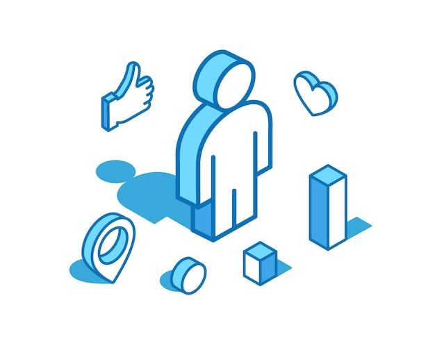Isometrische illustration der blauen linie des mannes. benutzer, menschliche 3d-banner-vorlage isoliert auf weißem hintergrund.