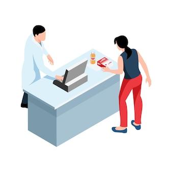 Isometrische illustration der drogerie mit apotheker und frau, die medikamente kaufen 3d