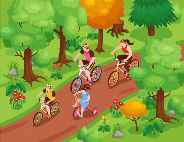 Isometrische illustration der familienfitness mit eltern und kindern, die fahrrad fahren