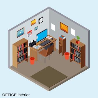 Isometrische illustration der flachen art 3d der inneneinrichtung des arbeitsplatzes