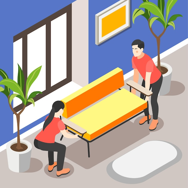 Isometrische illustration der frühlingsrenovierung mit familienpaar, das innenraum ihres hauses aktualisiert