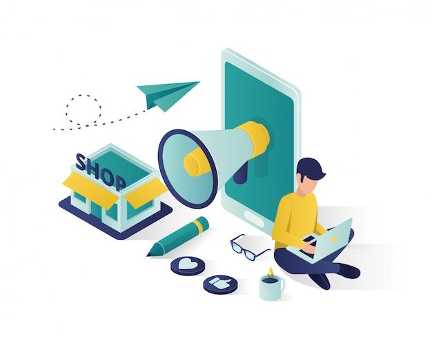 Isometrische illustration der geschäftsförderung, social media, das isometrische illustration vermarktet.