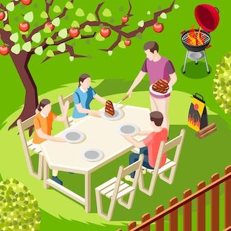Isometrische illustration der grill-grillparty mit hinterhoflandschaft und familienmitgliedcharakteren, die am tisch sitzen