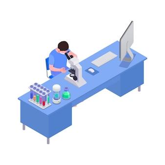 Isometrische illustration der impfung mit dem mann, der im labor 3d arbeitet