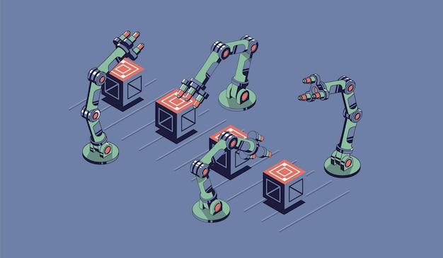 Isometrische illustration der intelligenten industrie. robotermanipulatoren verschieben kisten auf dem förderband.