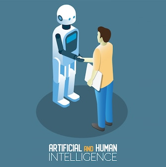 Isometrische illustration der ki und des menschlichen konzepts