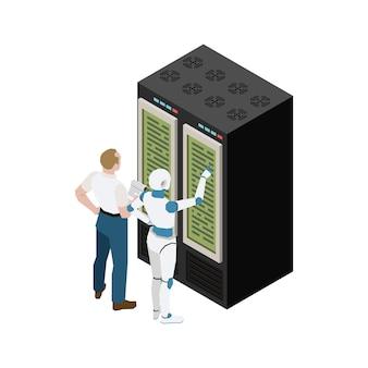 Isometrische illustration der künstlichen intelligenz mit mannroboter und rechenzentrum auf weiß