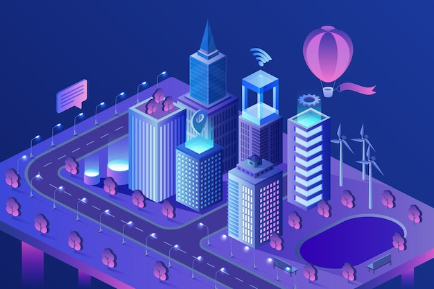 Isometrische illustration der modernen intelligenten stadt. intelligente ki-wolkenkratzergebäude.