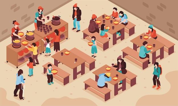 Isometrische illustration der nächstenliebe mit freiwilligen, die bedürftige arme obdachlose ernähren