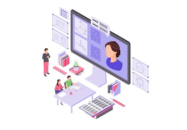 Isometrische illustration der online-bildung