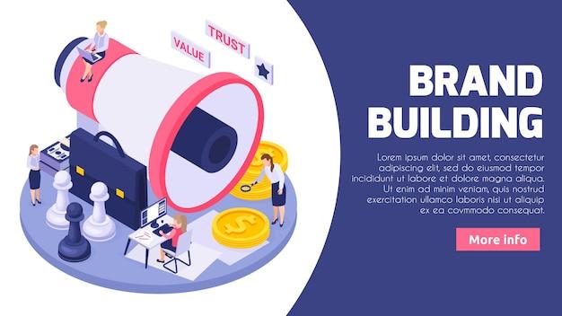 Isometrische illustration der online-markenerstellungsbaugesellschaft für web-banner-vorlage mit megaphon-schachmünzensymbolen
