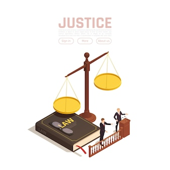 Isometrische illustration der rechtsgerechtigkeit mit gewichten mit buch und personen mit textschaltflächen