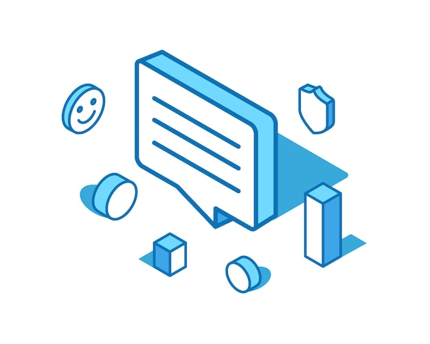 Isometrische illustration der sprechblase blaue linie feedback-kommentar 3d-bannervorlage überprüfen