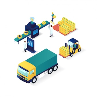 Isometrische illustration der verpackungsprozessindustrie und -technologie