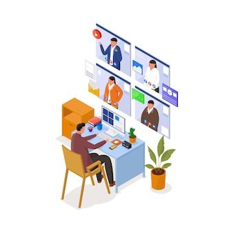 Isometrische illustration der videokonferenz