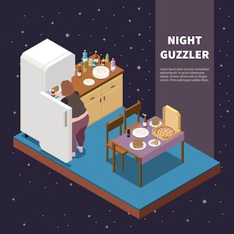 Isometrische illustration der völlerei mit nachtfressern, die lebensmittel aus dem kühlschrank nehmen 3d