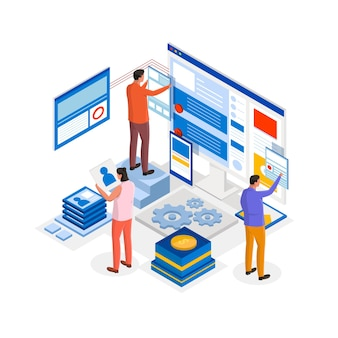 Isometrische illustration der webentwicklung
