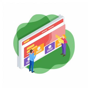 Isometrische illustration der websiteschnittstelle