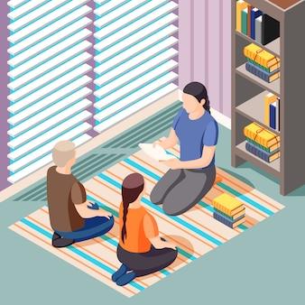Isometrische illustration des alternativen lernens mit lehrer und kindern, die während des literaturunterrichts auf dem boden sitzen