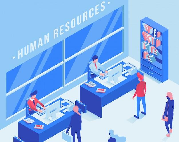 Isometrische illustration des arbeitsvermittlungsbüros
