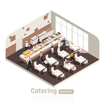 Isometrische illustration des bankettservice der cateringfeiern Premium Vektoren