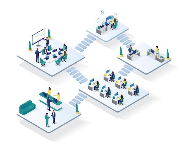 Isometrische illustration des büroarbeitsplatzraumes