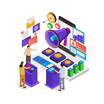 Isometrische illustration des digitalen marketings