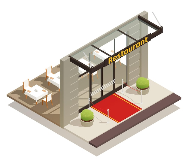 Isometrische illustration des eleganten restaurants