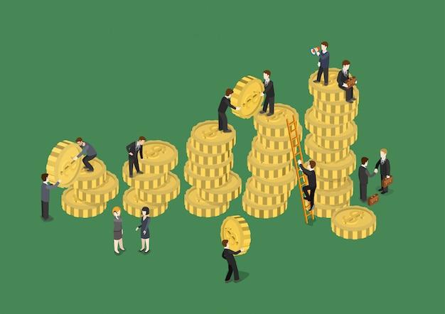 Isometrische illustration des finanziellen wachstums des geschäftskonzepts geschäftsleute, die datengrafik-datengrafik der münzen mit geldhaufen hinzufügen. kreative personensammlung.