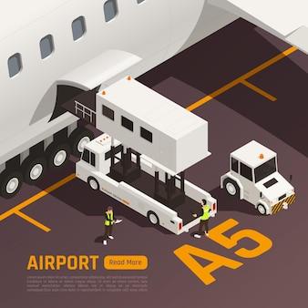 Isometrische illustration des flughafens mit flugzeug und personen, die gepäck zum flugzeug laden