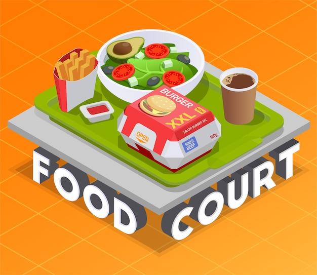 Isometrische illustration des food court mit servierplatte, die auf 3d text mit verpacktem essen und getränken steht