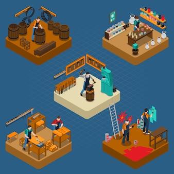 Isometrische illustration des handwerkers