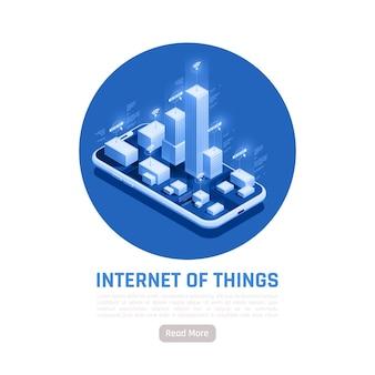 Isometrische illustration des internet der dinge mit modernen stadtgebäuden, die auf dem bildschirm des smartphones mit wifi-funktion stehen