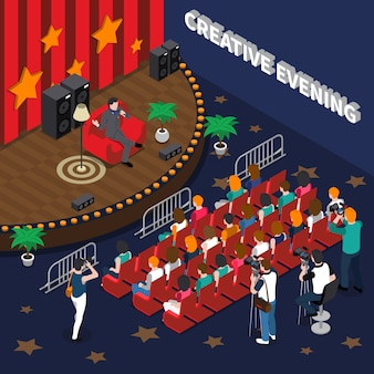 Isometrische illustration des kreativen abends