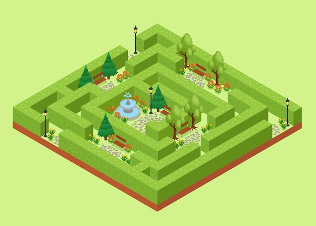 Isometrische illustration des labyrinthgartens