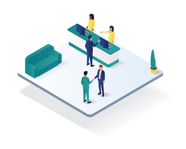 Isometrische illustration des lobbybüroraumes