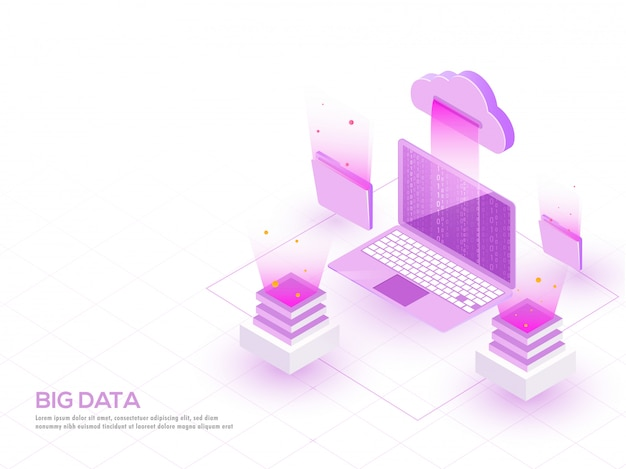 Isometrische illustration des lokalen servers und des laptops angeschlossen.