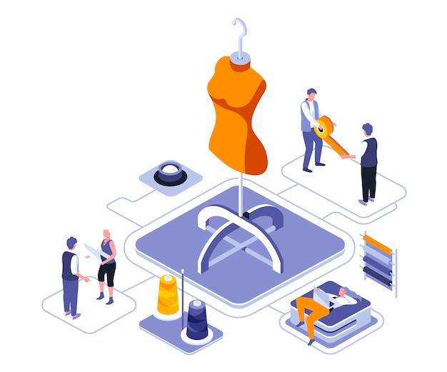 Isometrische illustration des modedesigns