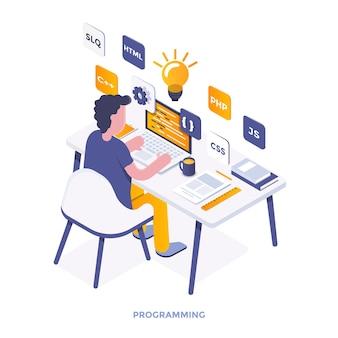 Isometrische illustration des modernen flachen designs der programmierung. kann für website und mobile website oder landing page verwendet werden. einfach zu bearbeiten und anzupassen. vektor-illustration