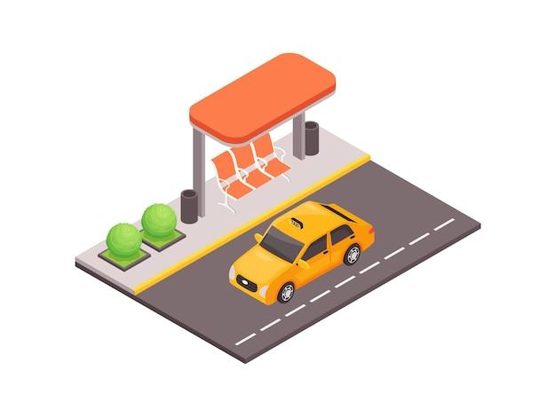 Isometrische illustration des öffentlichen verkehrs mit moderner bushaltestelle und taxiauto auf der straße