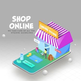 Isometrische illustration des online-shops im smartphone mit großen angeboten, zahlungskarte, münzen und frau, die einkaufswagen auf grauem hintergrund halten.